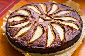 Delicious pear cake with chocolate